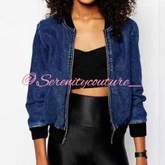 Denim Bomber Jacket Zip Up Blue Jean Bomber Jackets & Coats Jean Jackets