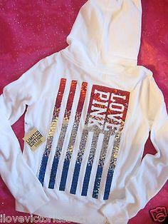 Victorias Secret RARE Limited Edit USA FLAG Sequin Bling HOODIE Sweatshirt PiNK