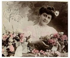 French Antique Postcard - Women Arranging a Flower Basket 'Bonne Fete' on Etsy, $4.50