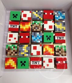 Square cupcakes by Lee Sin in various block styles.