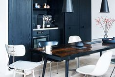 black stained wood cabinets