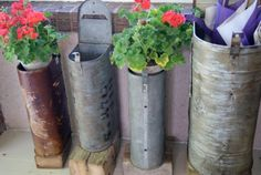 #Upcycled mail boxes as planters.