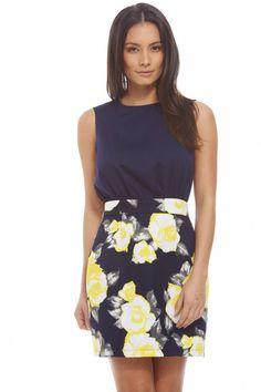 WOMEN'S CONTRAST YELLOW FLORAL DRESS<br/><div class='zoom-vendor-name'>By <a href=http://www.ustrendy.com/AXParisUSA>AX Paris USA</a></div>