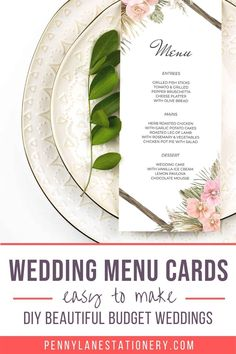 These simple yet elegant BOHO wedding menu cards will impress all your guests. They'll never know how little these DIY budget (and beautiful) printable pdfs cost. Easy to make. Unique designs. Diy Wedding Menu Cards, Wedding Signs, Wedding Invitations, Roast Lamb Leg, Lemon Ice Cream, Bohemian Wedding Decorations, When You Are Happy, Wedding Dinner, Printable Designs