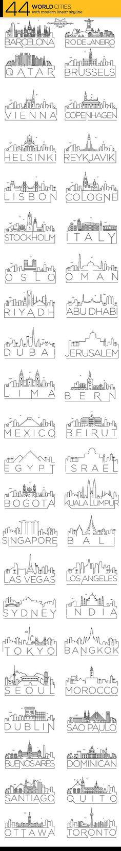 44 Different World Cities Skyline @creativework247