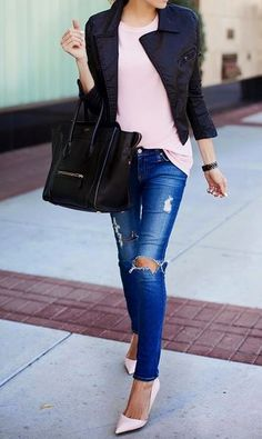 easy style. love that jacket <3 Can dress down with a pair of pink flats or TOMS. Use studentrate's fashion discounts to help recreate this look
