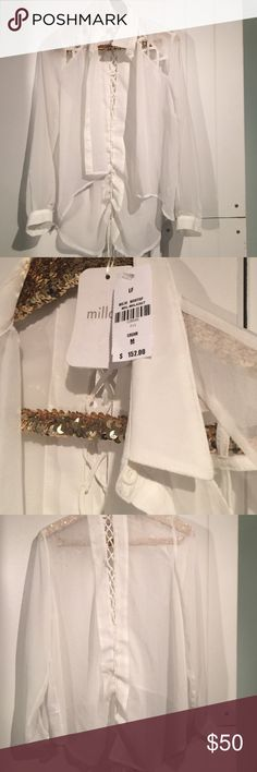 LF Millau cream sheer long sleeve LF Millau cream sheer long sleeve top.  Lace up back and cage front detail front.  NWT.  Gorgeous! LF Tops Button Down Shirts