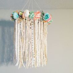 Nursery Mobile, Dreamcatcher Mobile, Flower Mobile, Boho chic Dream catcher, Boho Nursery Mobile, Floral Nursery Decor, Boho Chic Nursery by BlairBaileyDesign on Etsy https://www.etsy.com/listing/491753384/nursery-mobile-dreamcatcher-mobile