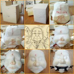 An example of how a puppet head can be carved from a foam block. Marionette Puppet, Sock Puppets, Hand Puppets, Styrofoam Art, Foam Carving, Puppet Patterns, Puppet Crafts, Puppet Making, Paperclay