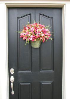 Spring Tulip Bucket for Door-from Etsy