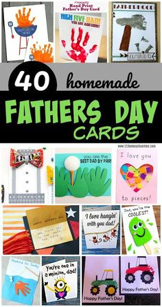 40 Homemade Fathers Day Cards - so many fun, unique, and creative Fathers Day Cards for kids to make for Dad, Papa, or Grandpa to celebrate Father's Day! // 123 Homeschool 4 Me -- Kids Fathers Day Cards, Homemade Fathers Day Card, Easy Fathers Day Craft, First Fathers Day Gifts, Kids Cards, Diy Cards For Dad, Easy Diy Father's Day Cards, Homemade Cards, Diy Father's Day Gifts For Grandpa