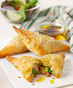 chicken leek and pea filo parcels