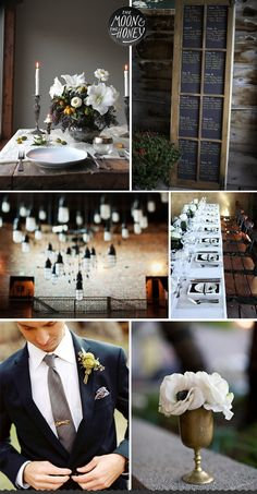 The Moon & The Honey - industrial elegant wedding inspiration - groom, flowers
