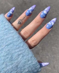IG credits to artfriendlyclub shared by jade ☆ gummy Purple Acrylic Nails, Light Purple Nails, Summer Acrylic Nails, Best Acrylic Nails, Swag Nails, Aycrlic Nails, Grunge Nails, Edgy Nails, Acrylic Nails Coffin Glitter