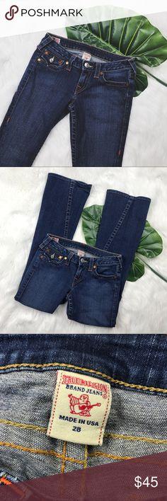 "True Religion Joey Dark Wash Flare Jeans Excellent used condition True Religion Joey dark wash flare jeans.   MEASUREMENTS Length: 38.5"" Inseam: 30"" Waist Across: 14"" Rise: 7"" Lucky Brand Jeans Flare & Wide Leg"