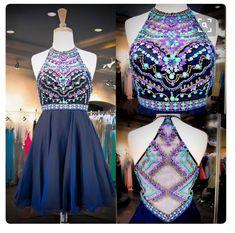 Dark Blue A-line Beading Short Prom Dress, Homecoming Dresses