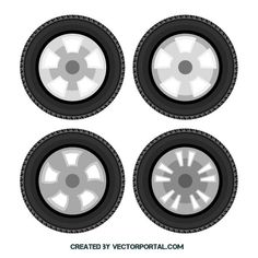 Wheels and tires vector image