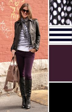 Purple skinny jeans, white tank under striped shirt, black leather jacket, purple & B&W scarf, black shoes.