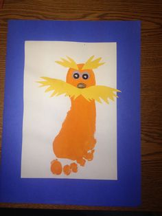 seuss art projects for kids images in 2018 Baby Footprint Crafts, Footprint Art, Baby Crafts, Daycare Crafts, Classroom Crafts, Preschool Crafts, Kids Daycare, Preschool Ideas, Dr Seuss Art