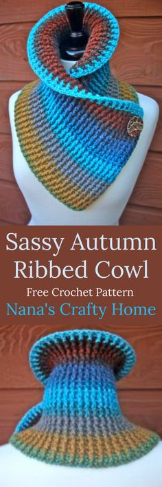 Sassy Autumn Ribbed Crochet Cowl free pattern with tutorials is part of Autumn crafts Free Crochet - Free Crochet pattern for a really cute and sassy Autumn Ribbed Cowl with button accent including video tutorials using one cake Mandala Lion Brand Yarn Ribbed Crochet, Crochet Cowl Free Pattern, Knitting Patterns Free, Free Knitting, Free Crochet, Crochet Baby, Crochet Patterns, Cowl Patterns, Double Crochet