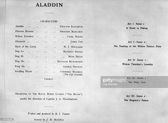 Programme for the royal pantomime production of 'Aladdin', starring Princess Elizabeth (Queen Elizabeth II) and Princess Margaret (1930-2002), at Windsor Castle, Berkshire, Great Britain, 15 December 1943.