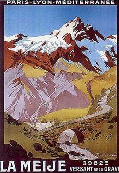 France, La Meije  (Les Alpes) - vintage travel ads