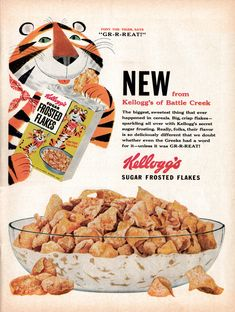 Tony the Tiger Print Ad! Hockey Puck Frosted Flakes