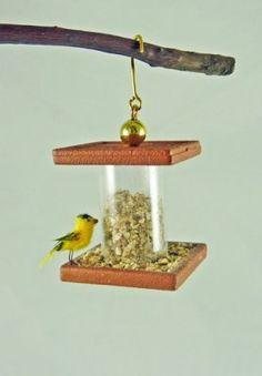 Dollhouse Miniature Alice Zinn Bird Feeder with Yellow Bird