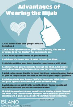"Advantages of Wearing the Hijab. Too true, I have never been ""picked up"" by any man, and this is also because I do not put myself in that situation."