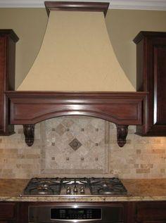 built in hoods for kitchen | Custom Home Kitchen: Custom Range Hood, Brick Backsplash, Mosaic Tile ...