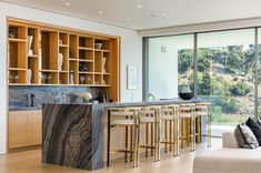 $23 million newly-built home above the Sunset Strip comes with a car turntable Soaker Tub Free Standing, Tiered Seating, Linear Fireplace, Spa Tub, Sunset Strip, Mansions For Sale, Hollywood Hills, Glass Shower, Wood Accents