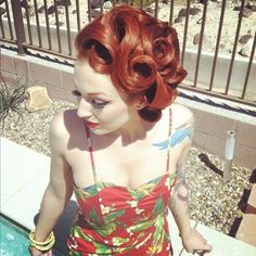 Retro pin-up hair inspiration  Source: mymymadisonjane.tumblr.com    If you can find hair people that could do this- I'd be all about it!