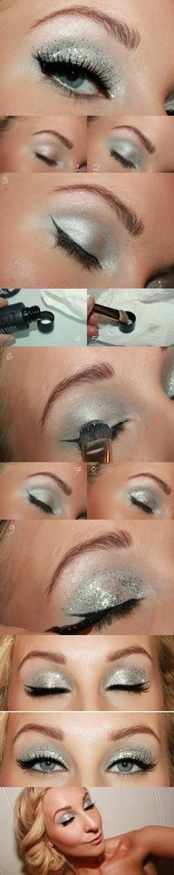 Step by step silver winged look