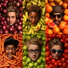 Fruits and Veggies by Kevin Goss-Ross. In Durban bands change members faster than bribes change hands. Fruits and Veggies had already gone through multiple member changes and so we decided to do a modular type shoot so members could be added or taken away with a quick portrait if someone would add or join the band.