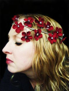 Red Velvet Flower Bridal Headpiece crown halo garland with silver and crystal beads via Etsy