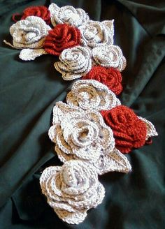 I love this crochet rose scarf