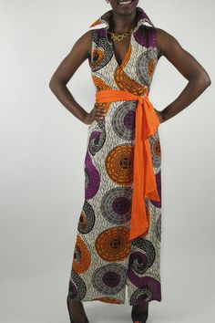 African fashion elegance. Kutowa maxi wrap dress with sash belt, available from Sapelle.com for £70