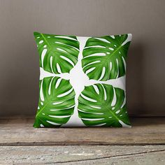 Tropical Leaf Pillow Leaf Pillow Tropical Decor Monstera