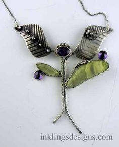 Tree of Life pendant, Sterling silver, Lemon Citrine, Serpentine and Amethyst. Artisan Jewelry, Handcrafted Jewelry, Tree Of Life Pendant, Sterling Silver Jewelry, Amethyst, Chokers, Pendants, Drop Earrings, Lemon