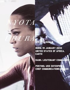 Nyota Uhura, chief communications officer abroad the Enterprise