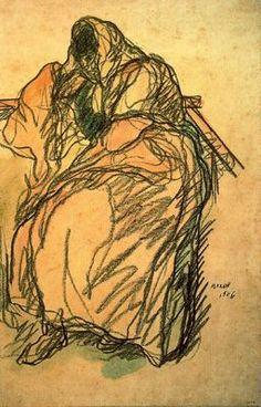 """""""Malos negocios, 1906"""". Lápiz Conté y acuarela. 48,6 x 31,8 cms. Gabinete de Dibujos y Grabados del MNAC, Barcelona. España."""