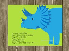 Dinosaur Birthday Invitation Children Printable by BusyChickadees on etsy