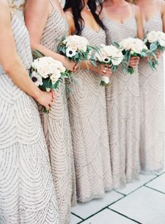 Beaded bridesmaid style: These dresses are perfect for an Art deco themed wedding.