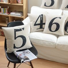 Arabic numerals numbers decorative throw pillow cover case cotton linen cushion cover for sofa home decor capa de almofadas