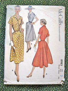 Vintage late 1940s sewing pattern by McCall's 8983 by Fancywork