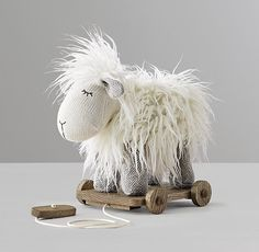 Wooly Plush Pull Toy - Lamb