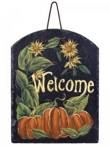 Sunny Pumpkin Welcome Harvest Slate Plaque  Cheery Fall welcome sign for your entry....... ships for delivery before Christmas!