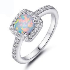 Rings 925 Silver Filled White Fire Opal Wedding Propose Rings Band Women  Men Jewelry A 0d2b6e4c730a