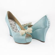 Satin baby blue vintage wedge #blue #bow #wedges