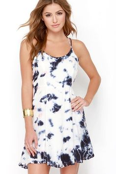 #Fashion  Summer Style : Olive  Oak Sunny Expedition Peach and Navy Blue Tie-Dye Dress